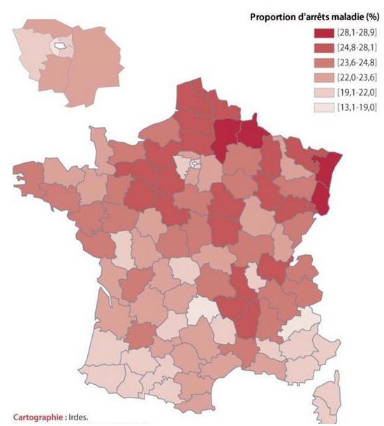 carte de France des arrêts maladie