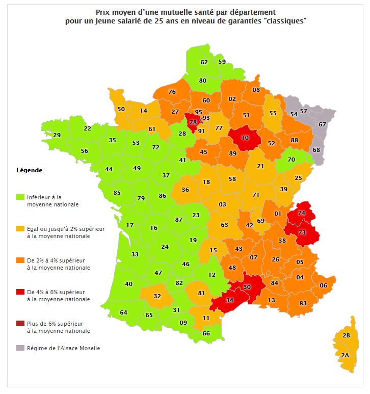 Tarifs Des Mutuelles En France Une Inegale Repartition Selon Les Departements